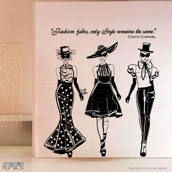 wall decals fashion models with coco chanel quote surface. Black Bedroom Furniture Sets. Home Design Ideas