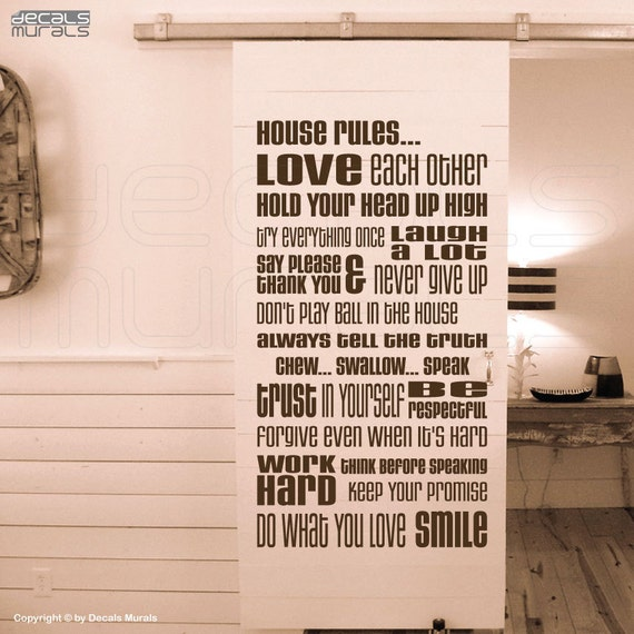 Wall decals HOUSE RULES Vinyl quote lettering surface graphics - Interior decor by Decals Murals