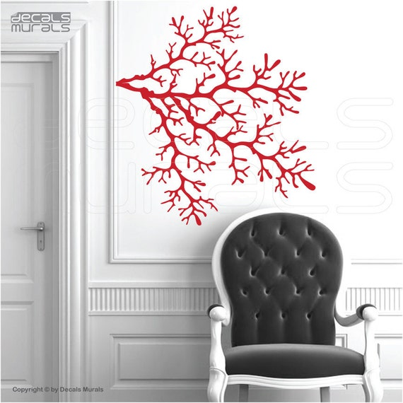Wall decals 4 CORAL REEF BRANCHES Vinyl art interior decor by Decals Murals (29x32)