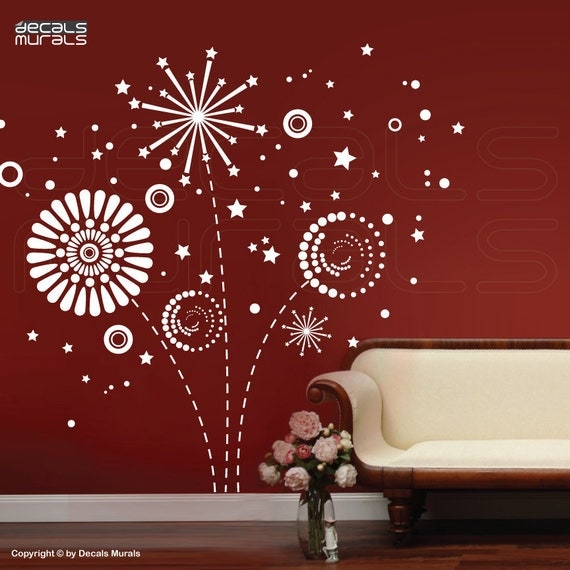SALE 50% Off Large white GEOMETRIC FIREWORKS Wall decals interior graphics decor by Decals Murals