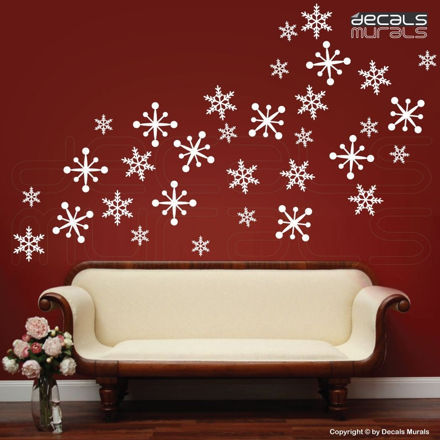 Wall decals snowflakes christmas wall decor holidays interior for Christmas wall mural plastic