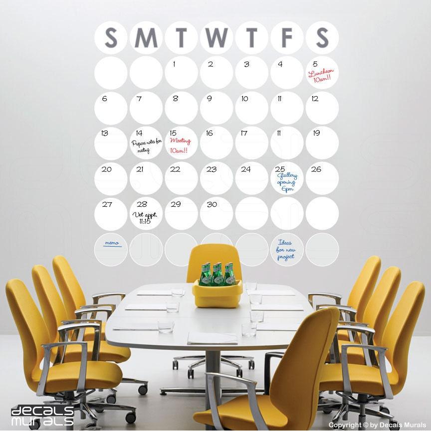 Office Calendar Wall : Dry erase polka dots monthly calendar wall decal office