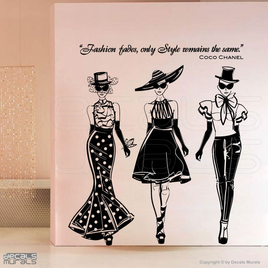 Wall decals FASHION MODELS with Coco Chanel quote by ...