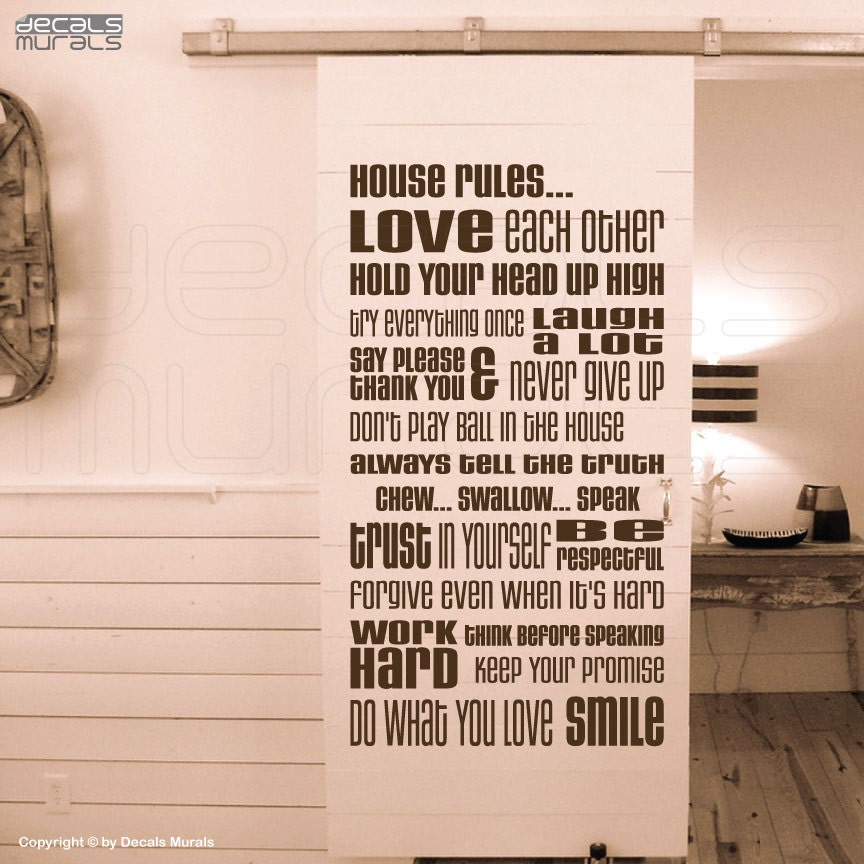 Wall Decals HOUSE RULES Vinyl Quote Lettering Surface Graphics - House rules wall decals