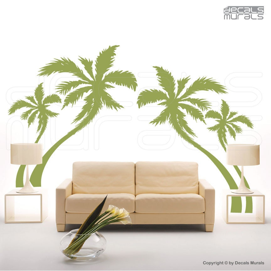 wall decals palm trees vinyl murals removable stickers decor. Black Bedroom Furniture Sets. Home Design Ideas