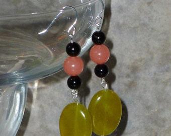 Earrings -Green New Jade, Black Onyx and Pink Quartz  -