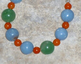 Bracelet, Blue, Angelite, Green, Red, Aventurine, Beaded Bracelet, Bead Bracelet, handmade bracelet, handmade jewelry, gift for her, ooak