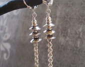 SALE - Silver Stacked Bead Caps and Chain Earrings (50% OFF)