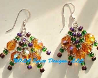 Mardi Gras Bling Crystal Earrings New Orleans