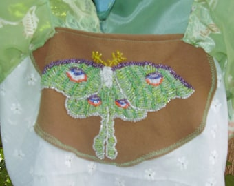 LUNA MoTH ToP ART DECO hand beaded exquisite 1900 Style Blouse Top  Silk Devore silks eyelets Pioret inspired Alphonse paintings Ooak Xs s m