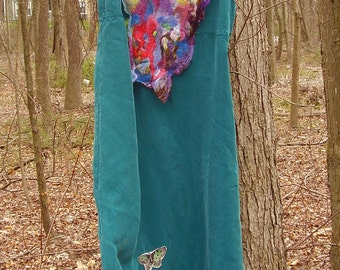 NUNO SILK BUTTERFLY MAXi Dress  Xs to Medium Nuno Silk felting and butterfly appliques hippie boho sz s