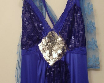 FESTIVAL MAXI SLiP DReSS upcycled 100%  sequined beaded  Dress  size medium to large  from slip and  sequin dresses  antique lace etc