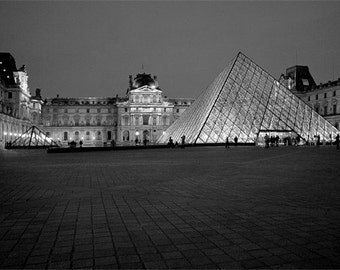 Louvre at Night - Paris Photography - Black and White Photo - Musee du Louvre Photo - Pyramid Art - Fine Art Photography - France - Europe