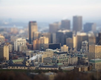 Montreal Photo - Miniature Art - Tilt Shift Photography - Urban Art Print - Quebec Architecture - Travel Photography - City Wall Decor