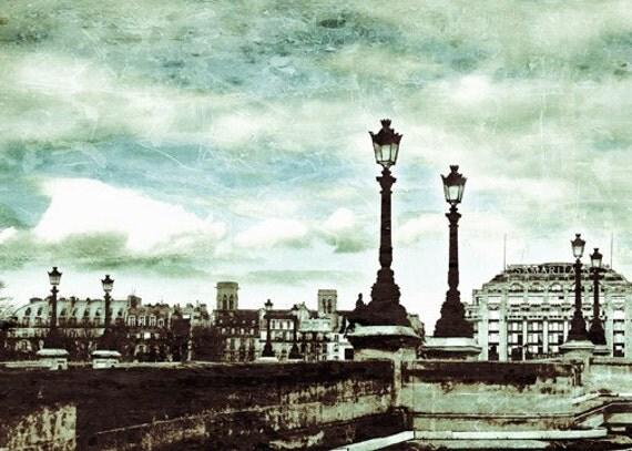 Paris Pont Neuf Photo - Travel Photography - Watercolor Effect - Urban Art - Turquoise - Blue - Texture - Textured Clouds - River Seine