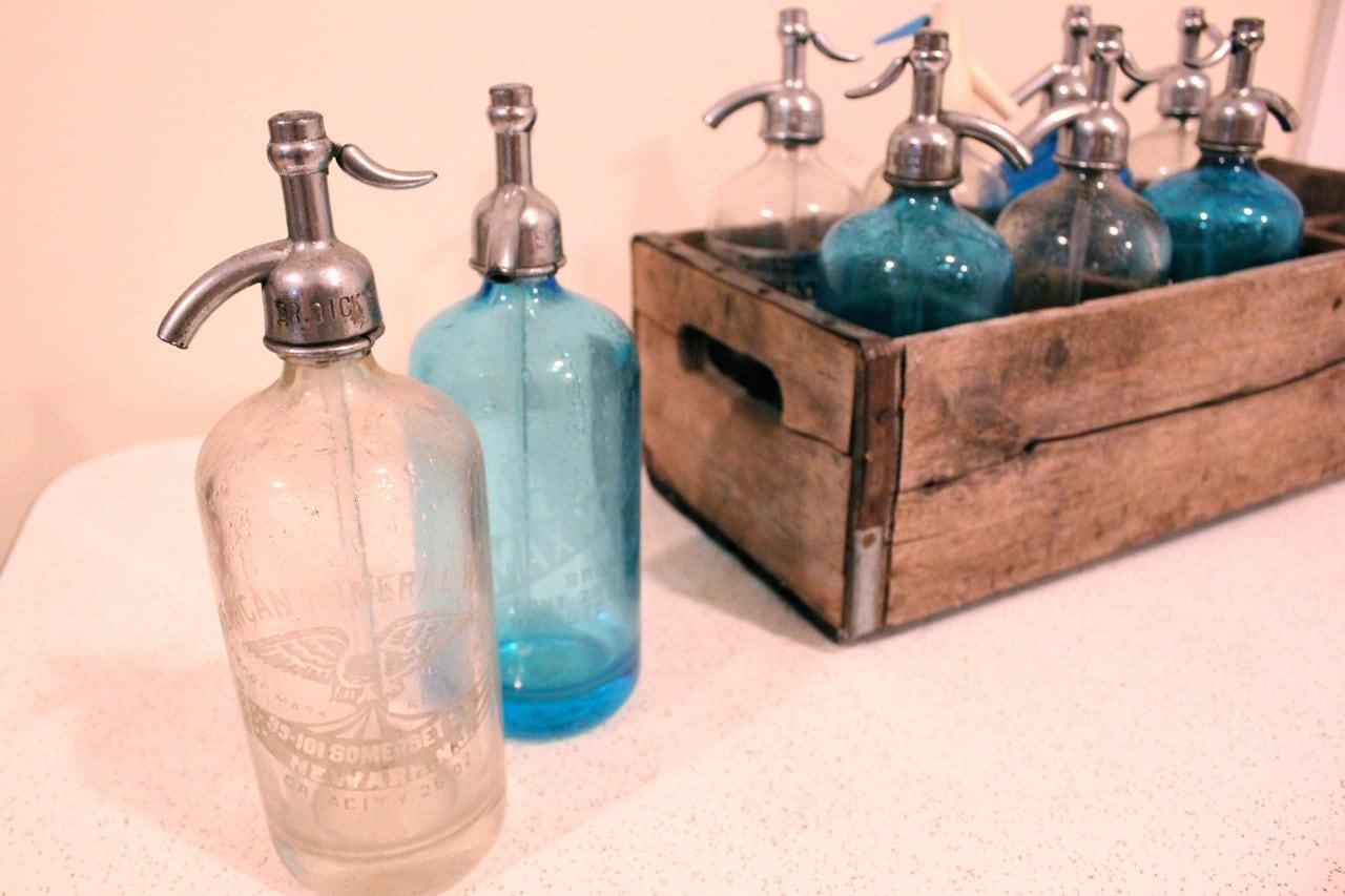 sale vintage seltzer bottles with wooden crate 10 bottles