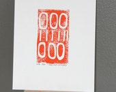 Industrial Orange modern art Linocut PRINT - Orange Lines and Circles linocut 9x12