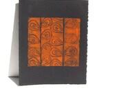 Linocut PRINT - Orange Art Poster 8x10 on Black Paper