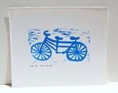 Bike art POSTER - Blue Tandum Bike linocut 8x10
