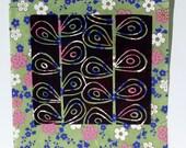POSTER - Modern Black Linocut 8x10 on Japanese cherry blossom paper