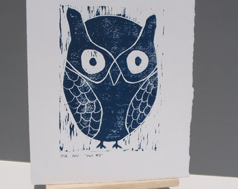 OWL Decor Linocut Art PRINT Deep Blue Owl 8x10 art print