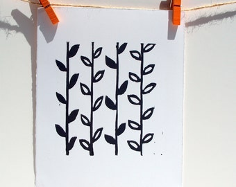 Pattern decor Linocut PRINT Black Flower Stems 8x10 Home Decor