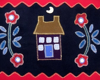 Once Upon a Time There Was a Little House Wool Penny Rug Table Runner