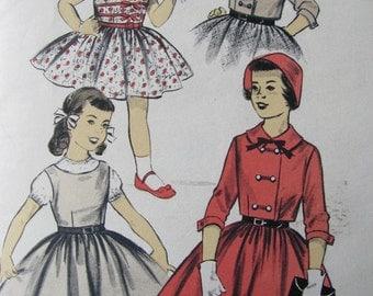 50s Girls Dress and Jacket Pattern Advance 8046, Full Gathered Skirt