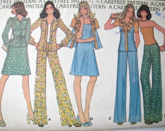 On SALE Vintage McCalls Sewing Pattern 4004 70s Pant Skirt Top Jacket COMPLETE