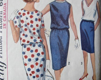 Vintage 60s sewing pattern, Simplicity 5831, Slim Skirt and Loose Fitted Top Sz 14 Bust 34, FREE SHIPPING