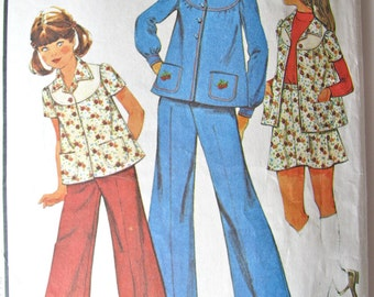 Vintage 70s COMPLETE Girls size 10 Wide Leg Pants Skirt Jacket or Top Sewing Pattern