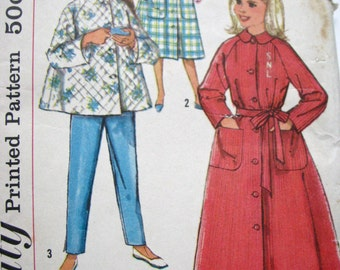 Vintage 50s Girls Pajamas and Robe Pattern, Monogram Robe Transfer Pattern, size 8, Uncut and FF Factory Folded