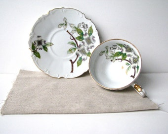 Vintage Footed Teacup and Saucer White and Gray Dogwood, UGAGCO China from Japan