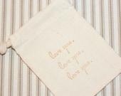 muslin gift bag LOVELOVELOVEx10, gift favor bag for weddings, baby shower, baked goods, soaps, candy bags