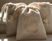 muslin gift bags PEARSx10, favor bag, soap bag, sachet, party favor