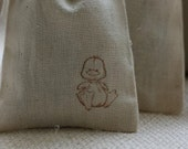 muslin gift favor bags LiL DuCkY x20 muslin baby shower gift bags, goody bags, Easter favor bags