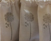 muslin gift bags DANDELIONS x10 wedding muslin favor bag, shower favor, goody bag for baked goods,soaps,candies