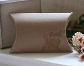 kraft pillow favor box, LoVeBiRds x12, wedding favor box, party favor pillow box, candy box, kraft box