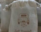 muslin favor bags WeDdinG CaR x10, muslin wedding favor bags, gift bags for goodies