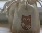 musin gift bags NiGhT OwLs x10 favor bags, party favor, soap bag, candy bag, muslin wedding favor bag