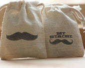 Mustache theme muslin gift bags StaChe x 20 muslin gift favor bags for carnival themed party,