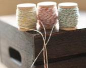 NEW SaMpLE TriO of BAKERS TWINE x 30 yards on vintage style wooden spool, string for tags, packaging string