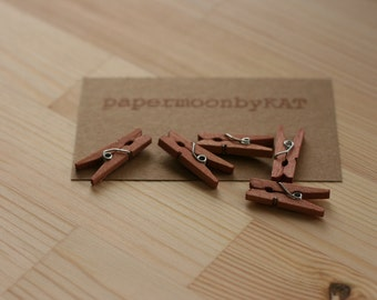 SeAsOnAL SaLe mini wood clothespins ChOcoLaTE x24, wood clothespins for crafting, scrapbooking, gift wrap