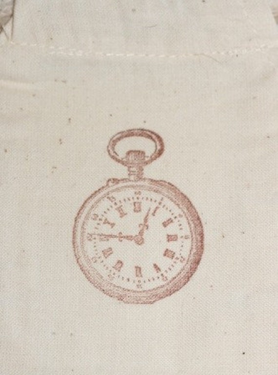 muslin gift bag CLOCKx10, cotton muslin gift bag for wedding, favor gift bag, for soaps, candies