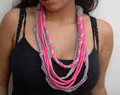 african style design fabric recycled necklace-pink & grey-gray, young women jewelry-eco freindly necklace-ethnic jewelry-