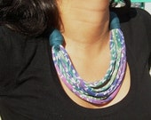 summer short ocean colors recycle fabric necklace african style-african jewelry-ethnic jewelry-pastel colors-eco freindly necklace for women