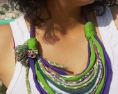 african style fabric short necklace - eco friendly  t shirt recycle jewelry with fabric flower-ethic jewelry spring summer fashion