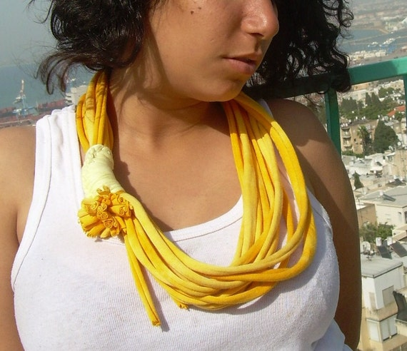 sun colors african style fabric recycle necklace--short jersey loop scarf,necklace with fabric upcycle flower, women summer fashion