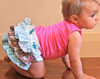 Baby Frill BLOOMERS PATTERN pants diaper PDF sewing tutorial boys girls Newborn to 18 months