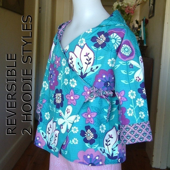 Sewing patterns instant download, girls boys pdf tutorial ebook reversible coat size 1 to 6 years